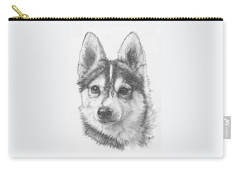 Designer Dog Carry-all Pouch featuring the drawing Alaskan Klee Kai by Barbara Keith