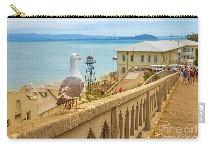 Seagull Carry-all Pouch featuring the photograph Alcatraz San Francisco by Benny Marty