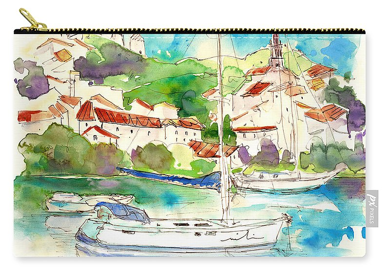 Travel Carry-all Pouch featuring the painting Alcoutim In Portugal 01 by Miki De Goodaboom