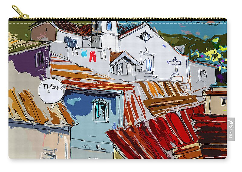 Travel Carry-all Pouch featuring the painting Alcoutim In Portugal 08 Bis by Miki De Goodaboom