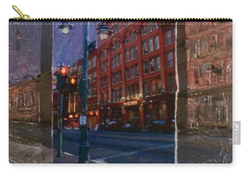 Ale House Carry-all Pouch featuring the mixed media Ale House And Street Lamp by Anita Burgermeister