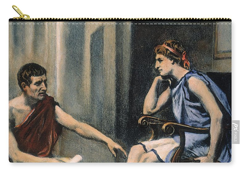 4th Century B.c. Carry-all Pouch featuring the photograph Alexander & Aristotle by Granger