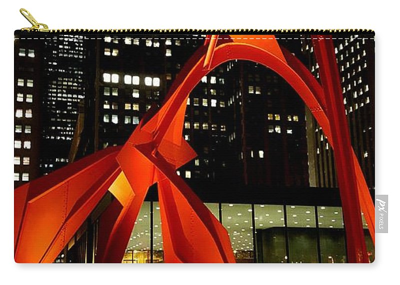 Carry-all Pouch featuring the photograph Alexander Calder's Flamingo by Sue Conwell