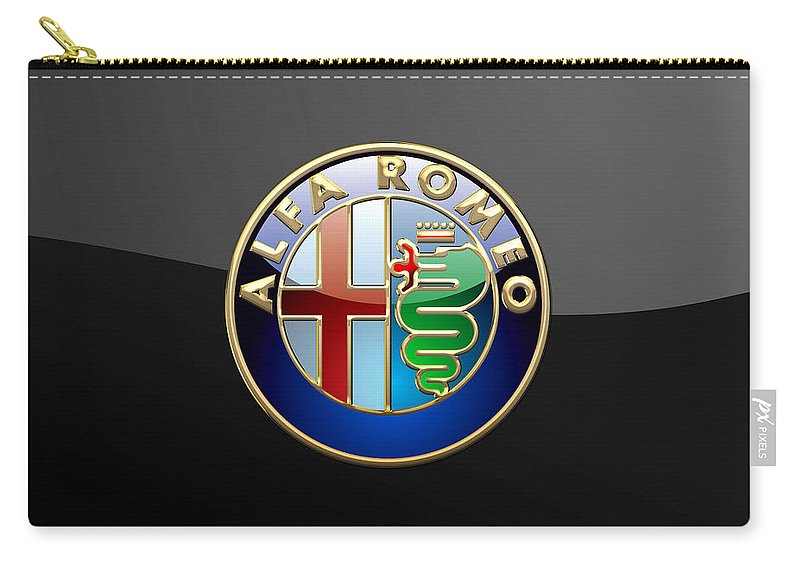 Wheels Of Fortune� Collection By Serge Averbukh Carry-all Pouch featuring the photograph Alfa Romeo - 3 D Badge on Black by Serge Averbukh