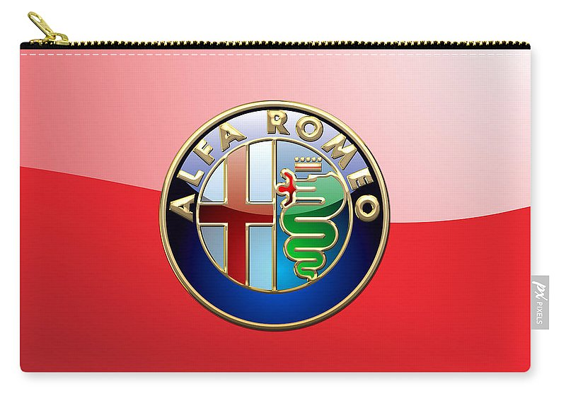Wheels Of Fortune By Serge Averbukh Carry-all Pouch featuring the photograph Alfa Romeo - 3d Badge On Red by Serge Averbukh
