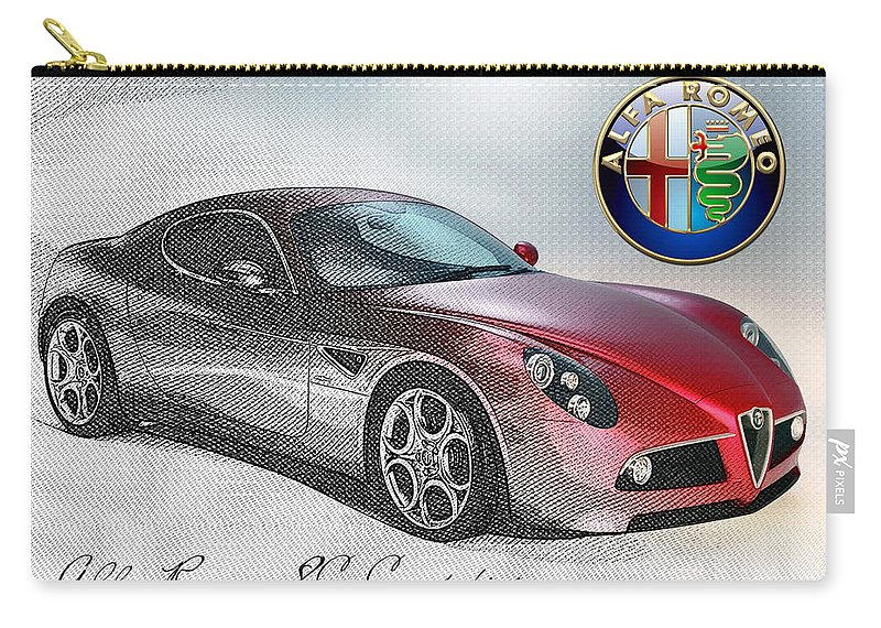 Wheels Of Fortune By Serge Averbukh Carry-all Pouch featuring the photograph Alfa Romeo 8c Competizione by Serge Averbukh