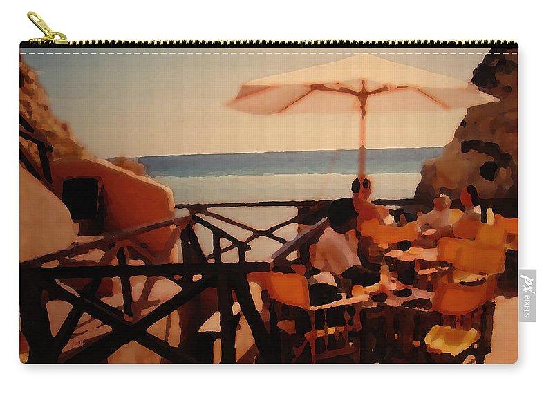 Algarve Carry-all Pouch featuring the photograph Algarve Beach Bar by Ian MacDonald