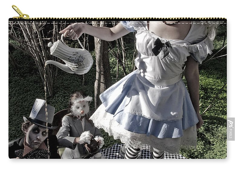 Alice In Wonderland Carry-all Pouch featuring the photograph Alice And Friends 1 by Kelly Jade King