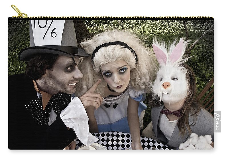 Alice In Wonderland Carry-all Pouch featuring the photograph Alice And Friends 2 by Kelly Jade King