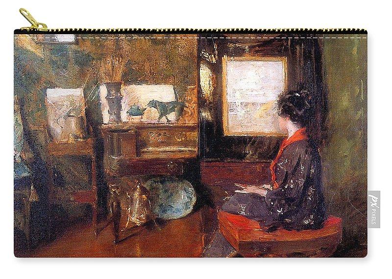 Alice In Studio In Shinnecock Long Island Sun - William Merritt Chase Carry-all Pouch featuring the painting Alice In Studio In Shinnecock by William Merritt