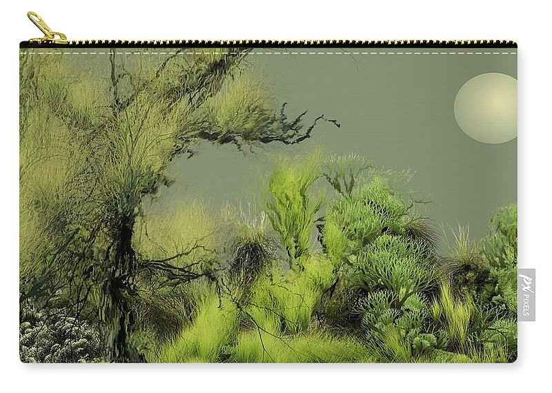 Digital Fantasy Painting Carry-all Pouch featuring the digital art Alien Garden 2 by David Lane