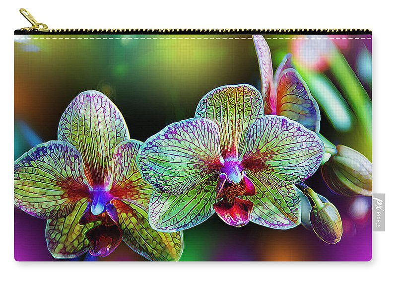 Orchids Carry-all Pouch featuring the photograph Alien Orchids by Bill Tiepelman