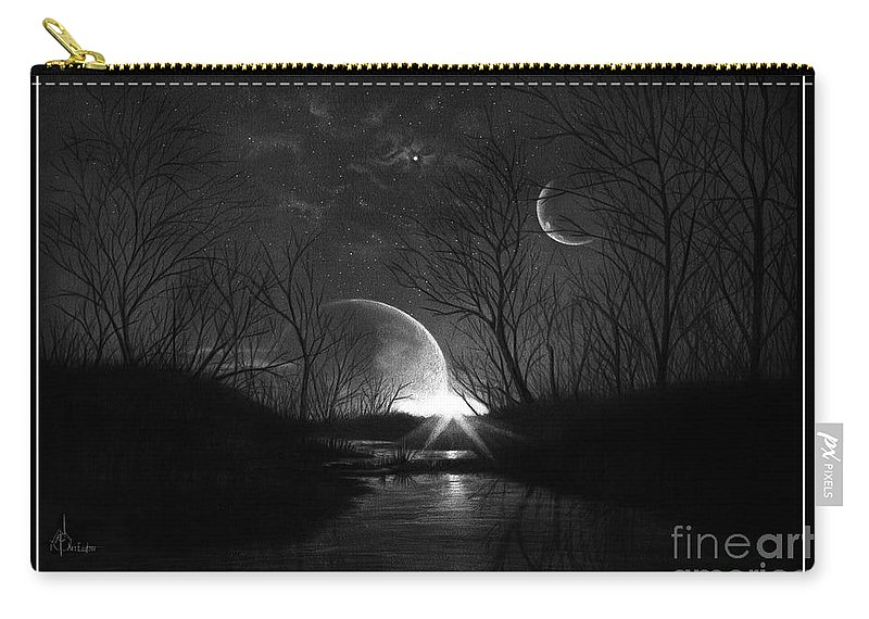 Pencil Carry-all Pouch featuring the drawing Alien Skies by Murphy Elliott
