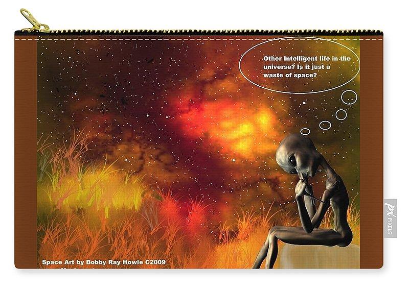 Comic Space Art Cartoon Artrage Artrageus Carry-all Pouch featuring the digital art Alien Thinker by Robert aka Bobby Ray Howle