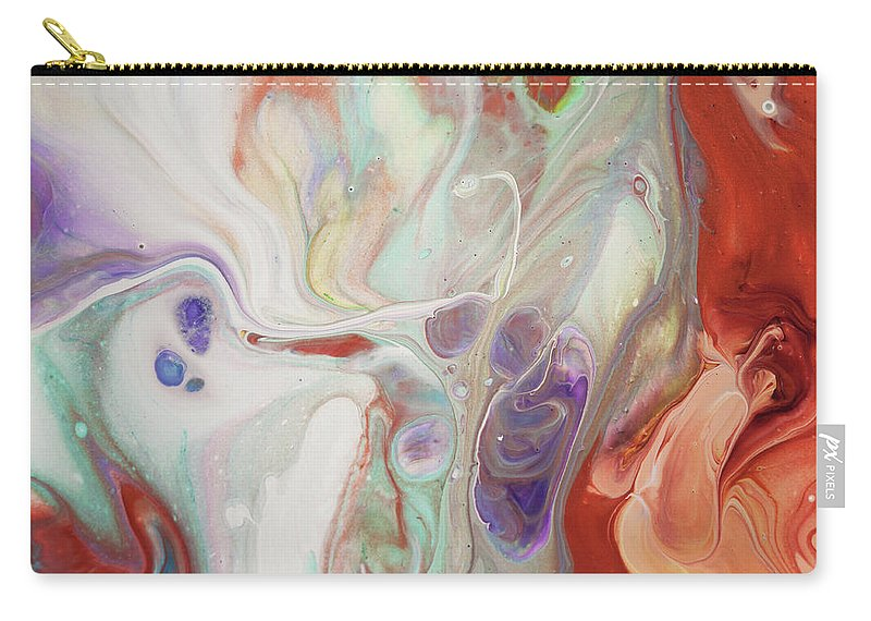 Jenny Rainbow Fine Art Photography Carry-all Pouch featuring the painting Alien Worlds. Abstract Fluid Acrylic Painting by Jenny Rainbow