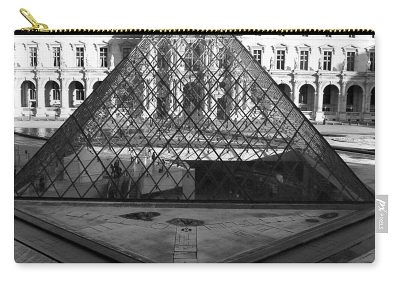 Pyramids Carry-all Pouch featuring the photograph Aligned Pyramids At The Louvre by Donna Corless