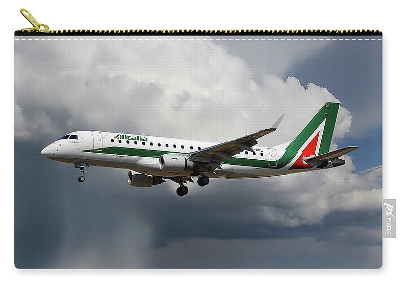 Alitalia Carry-all Pouch featuring the photograph Alitalia Embraer Erj-175std by Smart Aviation