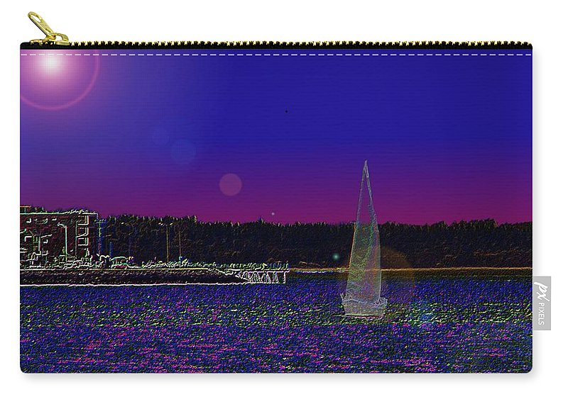 Seattle Carry-all Pouch featuring the digital art Alki Ghost Sail by Tim Allen