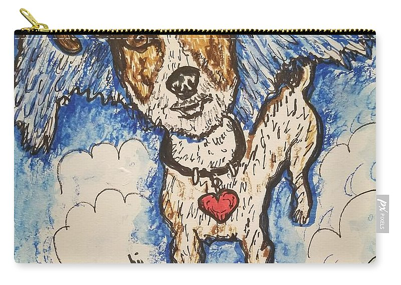 All Dogs Go To Heaven Carry-all Pouch featuring the drawing All Dogs Go To Heaven by Geraldine Myszenski