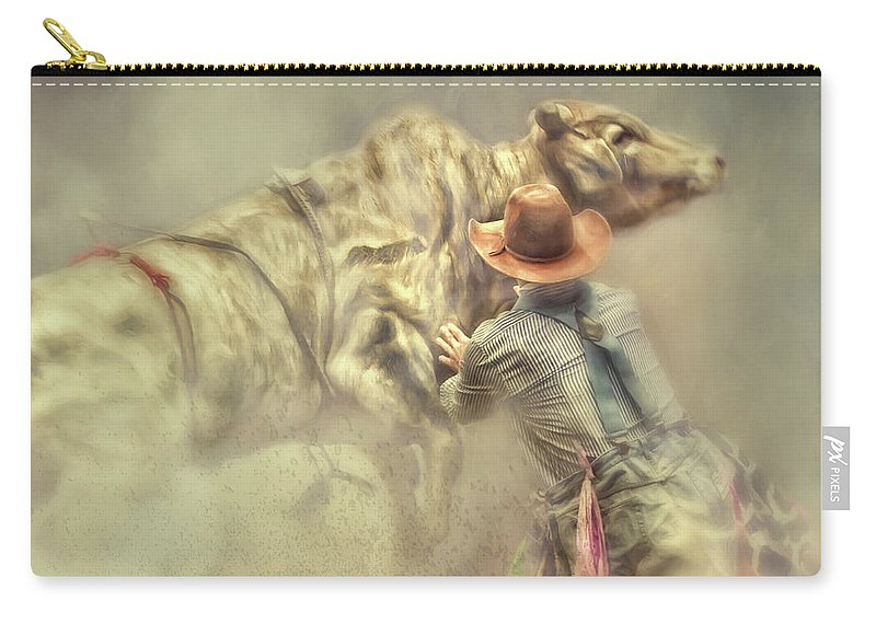 Rodeo Clown Carry-all Pouch featuring the photograph All In A Day's Work by Jan Galland