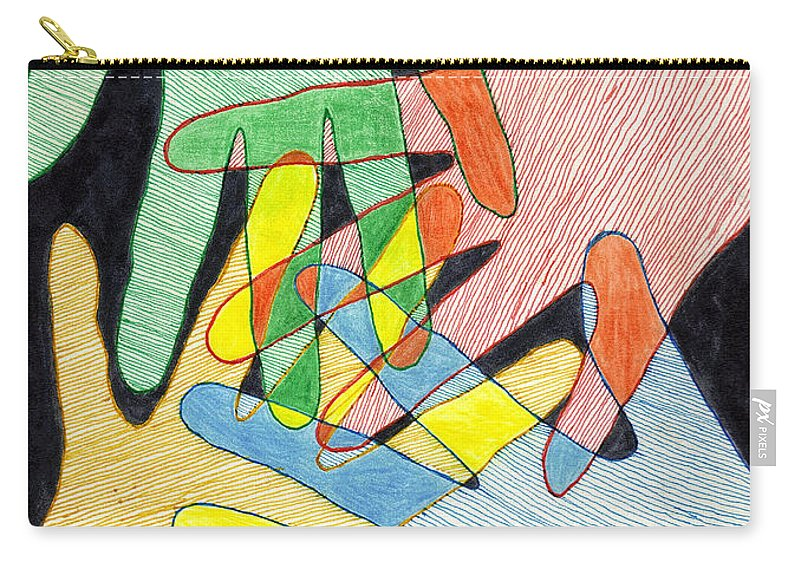 Hands Carry-all Pouch featuring the mixed media All In by Jean Haynes
