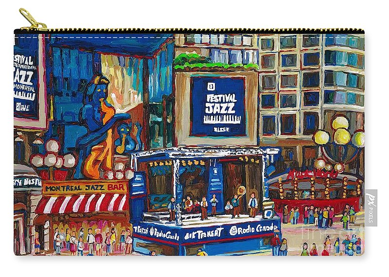 Montreal Carry-all Pouch featuring the painting All That Jazz by Carole Spandau