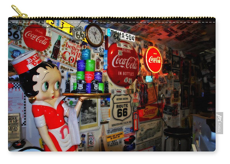 Route 66 Carry-all Pouch featuring the photograph All The Souvenirs Of Route 66 by Susanne Van Hulst