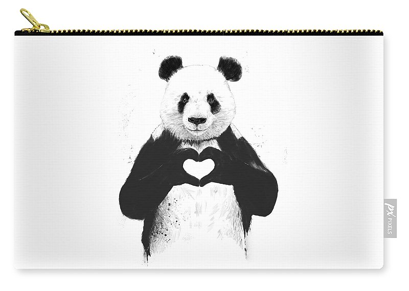 Panda Carry-all Pouch featuring the painting All you need is love by Balazs Solti