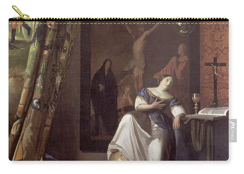 Vermeer Carry-all Pouch featuring the painting Allegory Of The Faith by Jan Vermeer
