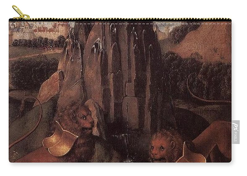 Cloak Carry-all Pouch featuring the digital art Allegory With A Virgin 1479 80 Hans Memling by Eloisa Mannion