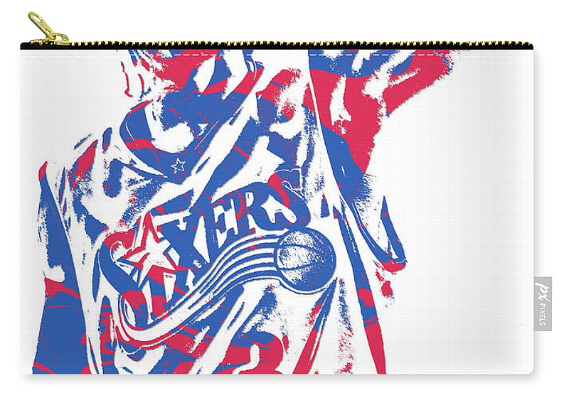 Allen Iverson Carry-all Pouch featuring the mixed media Allen Iverson Philadelphia 76ers Pixel Art 14 by Joe Hamilton