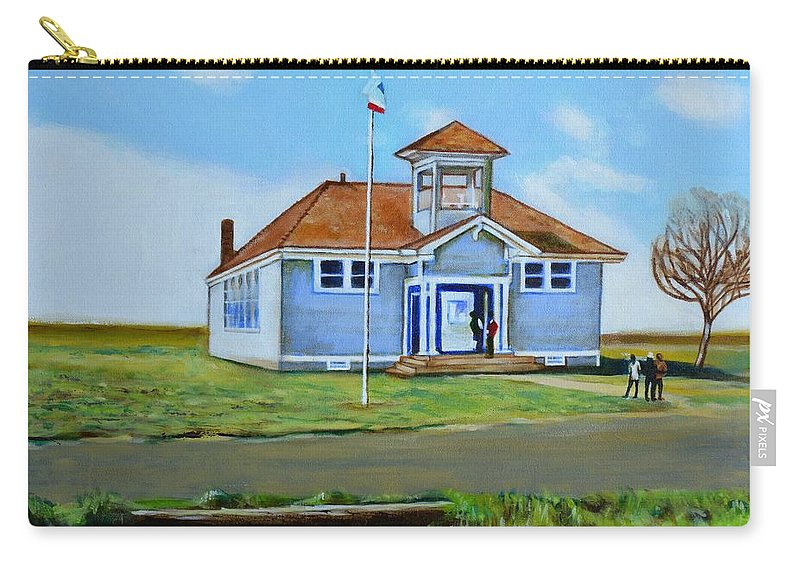 Buildings; School; Landscape; African American Community; Historical State Park; Carry-all Pouch featuring the painting Allensworth School by Howard Stroman