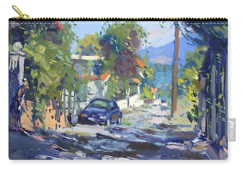 Alleyway Carry-all Pouch featuring the painting Alleyway By Lida's House Greece by Ylli Haruni
