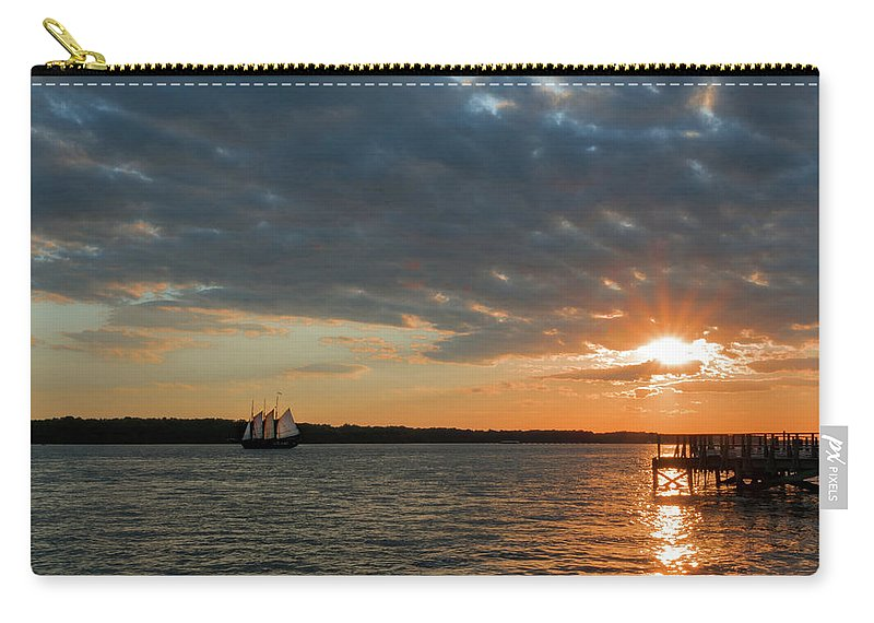 Gloucester Point Carry-all Pouch featuring the photograph Alliance Sunset Sail by Nancy Comley