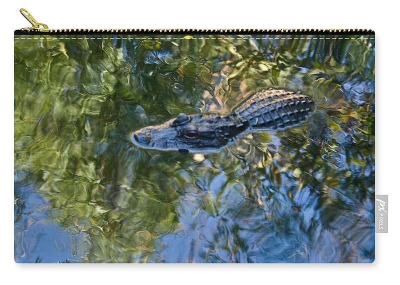 Alligator Carry-all Pouch featuring the photograph Alligator Stalking by Douglas Barnett