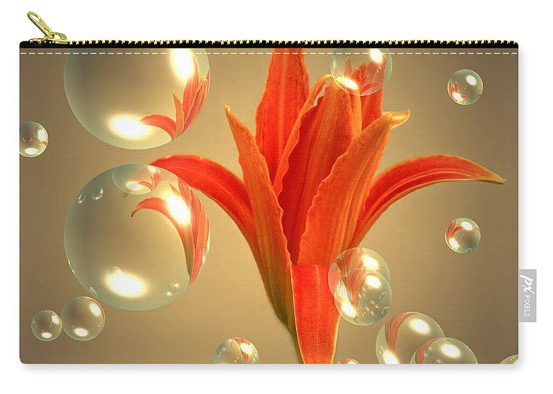 Lily Carry-all Pouch featuring the photograph Almost A Blossom In Bubbles by Joyce Dickens