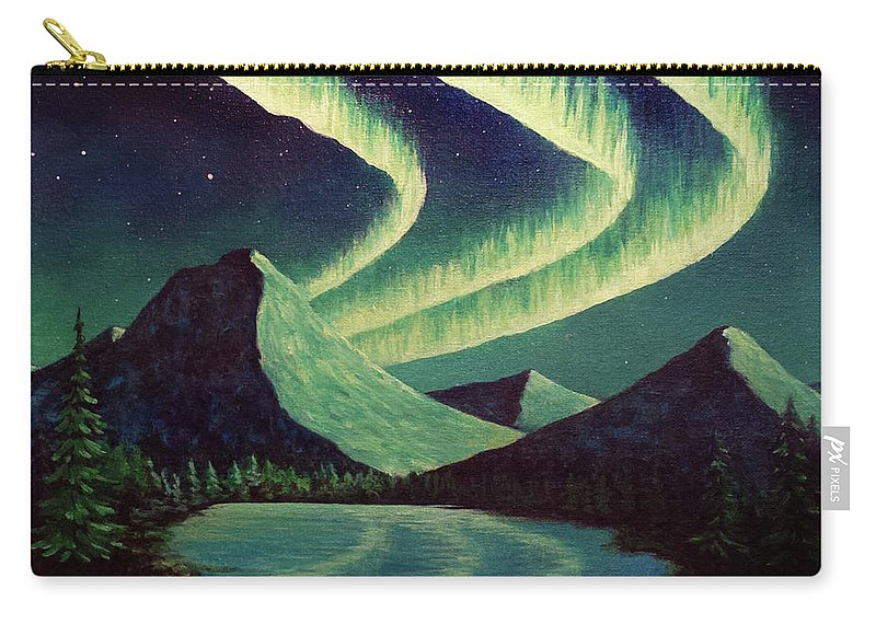 Aurora Borealis Northern Lights Lake Reflection Mountains Night Sky Carry-all Pouch featuring the painting Almost Alliteration by Beth Waltz