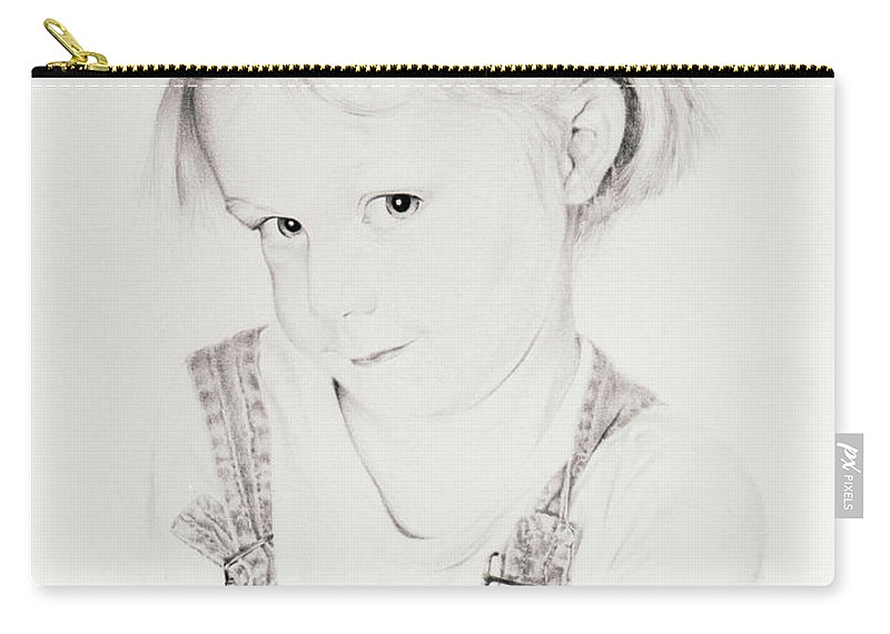 Portrait Carry-all Pouch featuring the drawing Almost Perfect by Rachel Christine Nowicki
