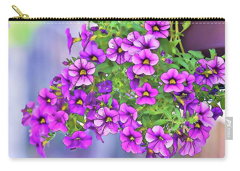 Linda Brody Carry-all Pouch featuring the digital art Aloha Purple Sky Calibrachoa Abstract I by Linda Brody