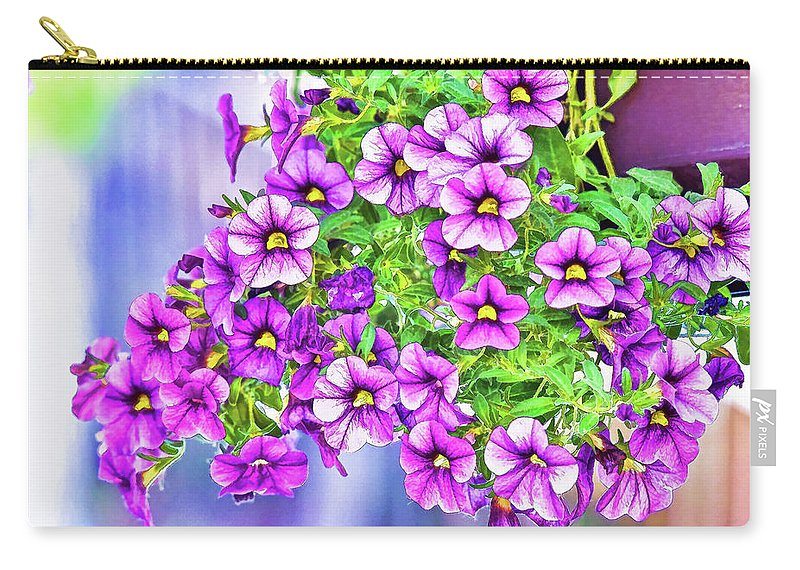 Linda Brody Carry-all Pouch featuring the digital art Aloha Purple Sky Calibrachoa Abstract II by Linda Brody