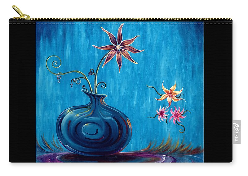 Fantasy Floral Scape Carry-all Pouch featuring the painting Aloha Rain by Jennifer McDuffie