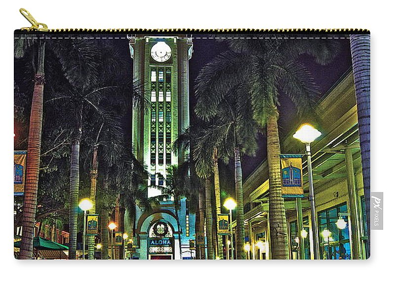 Aloha Carry-all Pouch featuring the photograph Aloha Towers by Michael Peychich