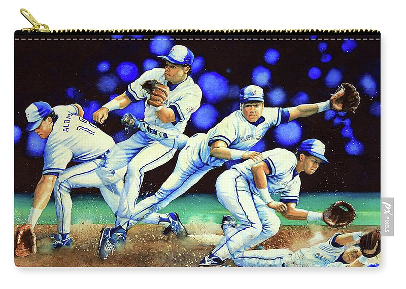 Sports Art Carry-all Pouch featuring the painting Alomar On Second by Hanne Lore Koehler