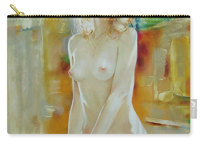 Art Carry-all Pouch featuring the painting Alone At Home by Sergey Ignatenko