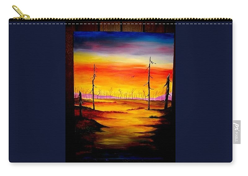 Landscape Carry-all Pouch featuring the painting Alone by Glory Fraulein Wolfe