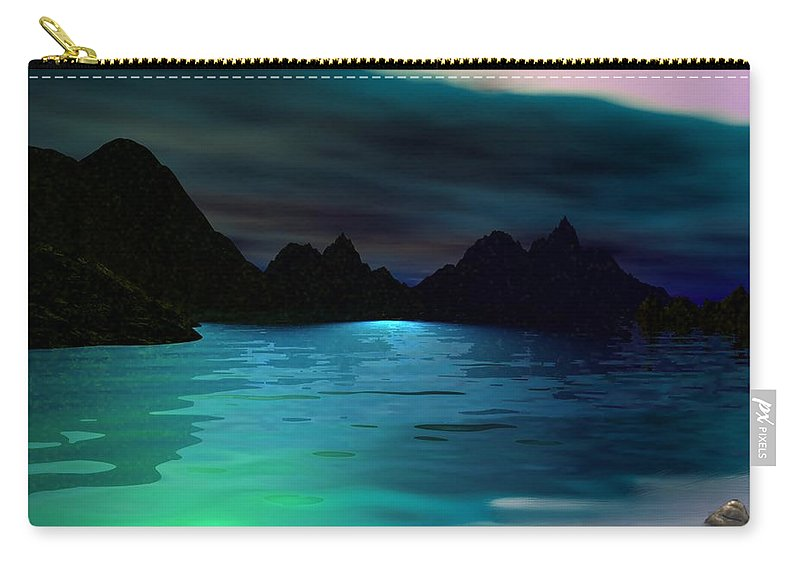 Seascape Carry-all Pouch featuring the digital art Alone On The Beach by David Lane