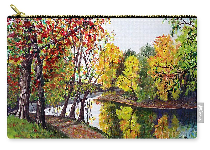 Blanchard River Carry-all Pouch featuring the painting Along The Blanchard by Nancy Cupp