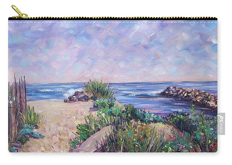Shore Carry-all Pouch featuring the painting Along The Breachway Rhode Island by Richard Nowak