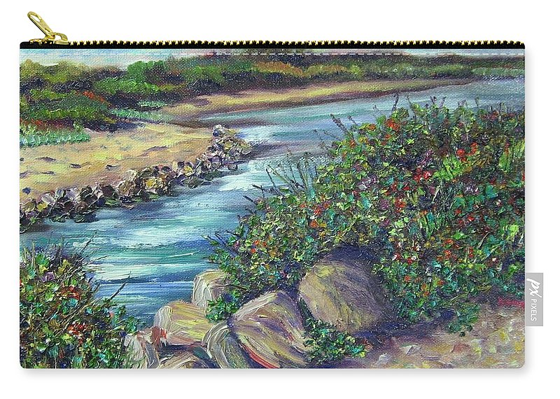 New England Carry-all Pouch featuring the painting Along The Connecticut Shore by Richard Nowak