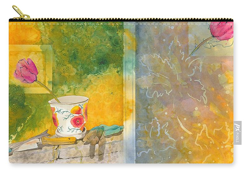 Garden Carry-all Pouch featuring the painting Along The Garden Wall by Jean Blackmer